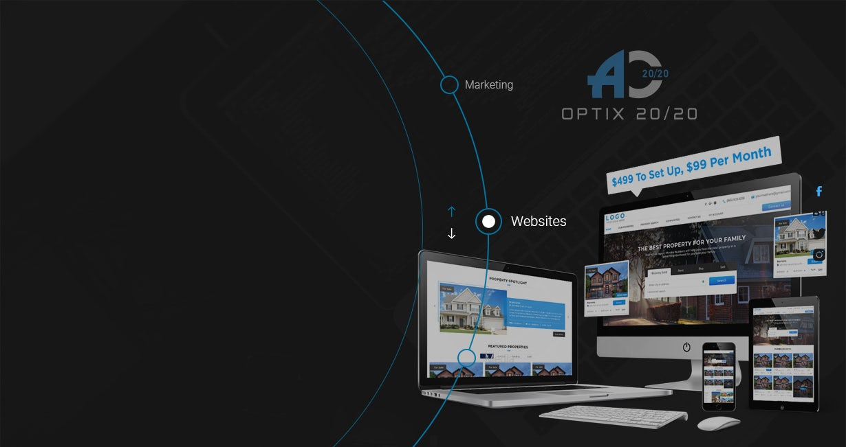 Ever notice most real estate sites all look the same? Blah...Well, not anymore.  Optix 20/20 changes everything.  Now you can change themes, page/section layouts, fonts, and everything else on your website in a matter of seconds.